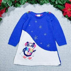 2/$24 Gymboree blue/white knit panda Winter dress